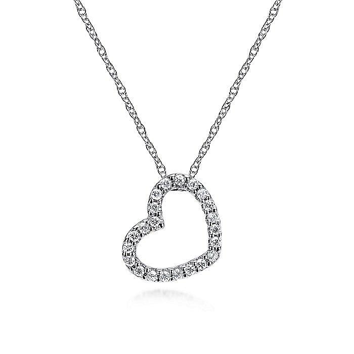 14K White Gold Pavé Diamond Open Heart Necklace