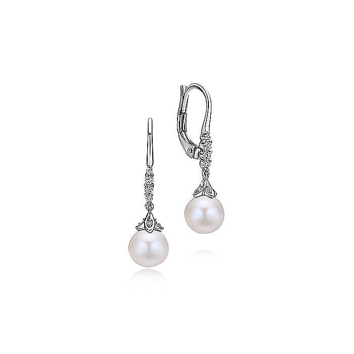 14K White Gold Pavé Diamond Pearl Drop Earrings