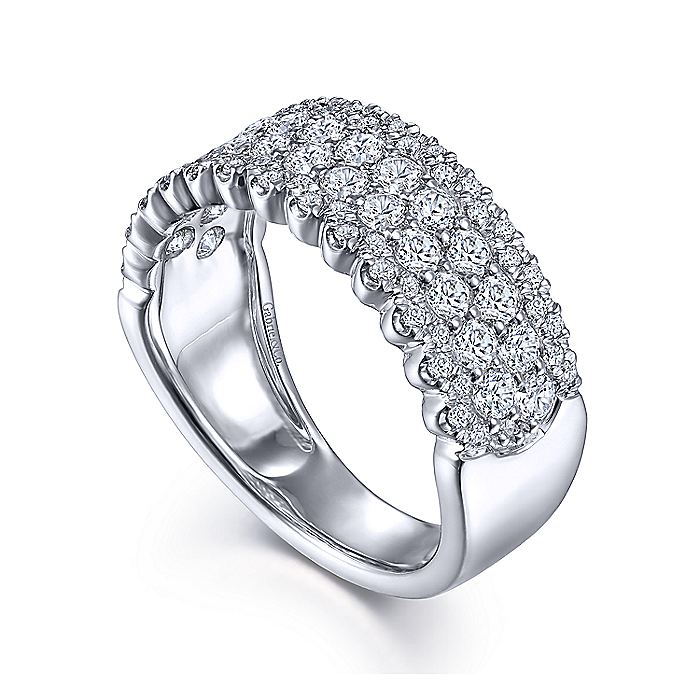 14K White Gold Pavé Diamond Ring