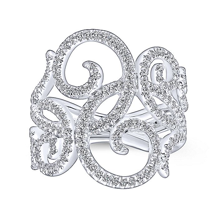 14K White Gold Pavé Diamond Scrollwork Ring