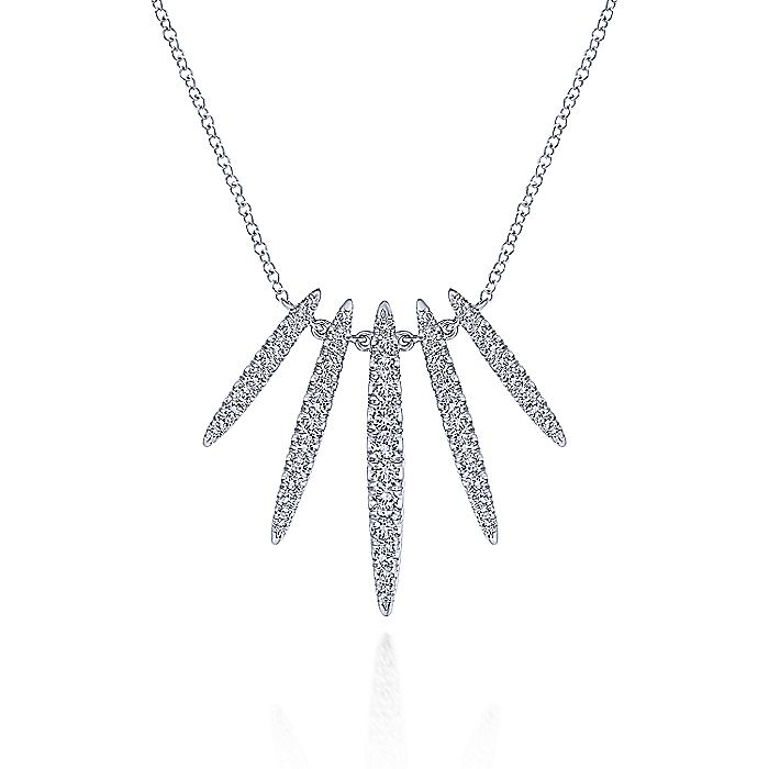 14K White Gold Pavé Diamond Spear Necklace