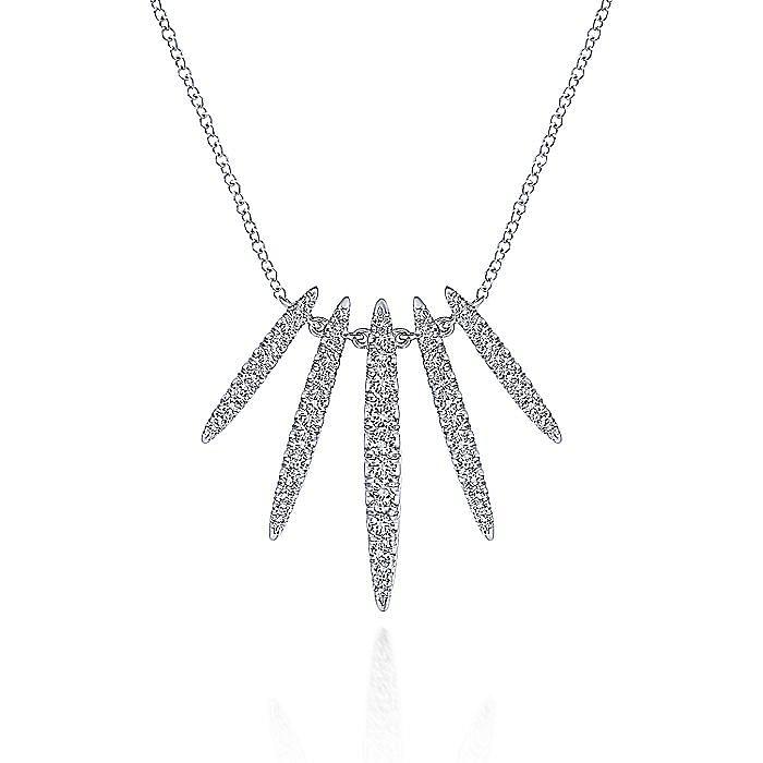 14K White Gold Pavé Diamond Spear Necklace