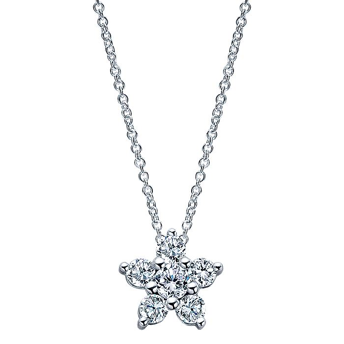 14K White Gold Pavé Diamond Star Pendant Necklace