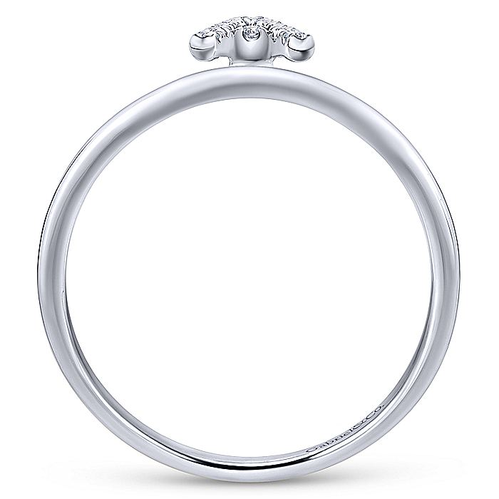 14K White Gold Pavé Diamond Uppercase A Initial Ring