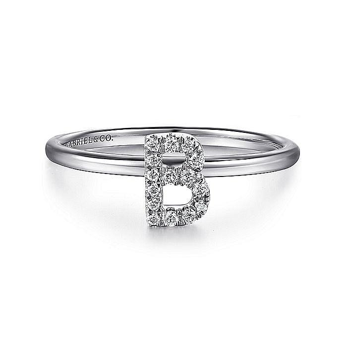 14K White Gold Pavé Diamond Uppercase B Initial Ring