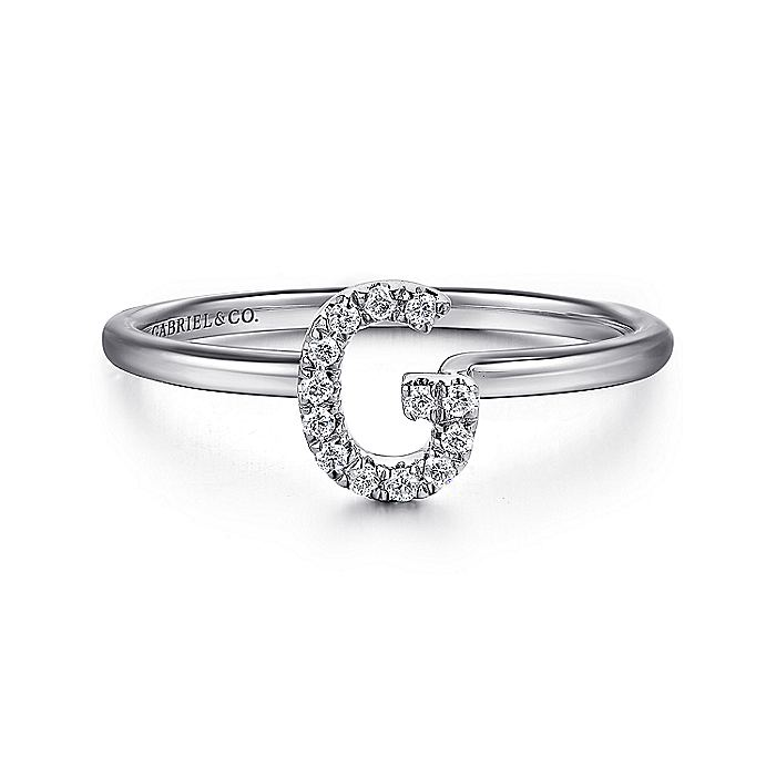 14K White Gold Pavé Diamond Uppercase G Initial Ring