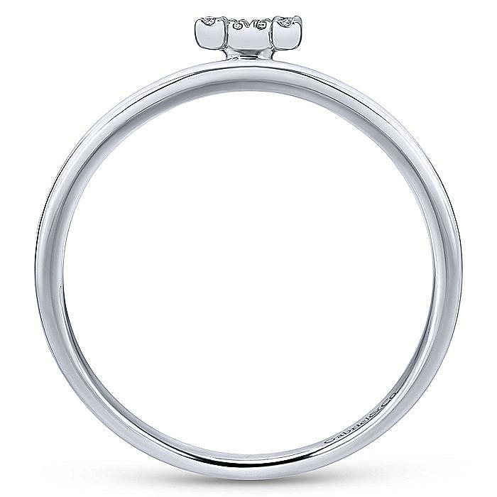 14K White Gold Pavé Diamond Uppercase H Initial Ring