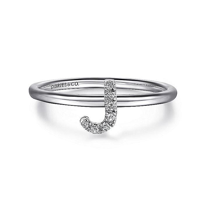 14K White Gold Pavé Diamond Uppercase J Initial Ring