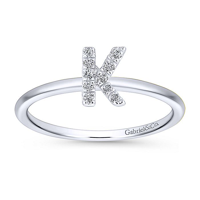 14K White Gold Pavé Diamond Uppercase K Initial Ring