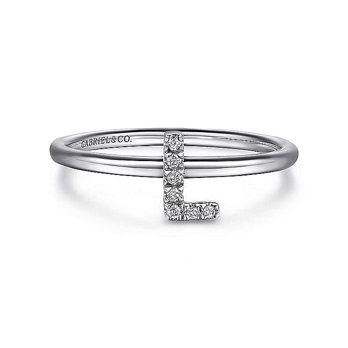 14K White Gold Pavé Diamond Uppercase L Initial Ring