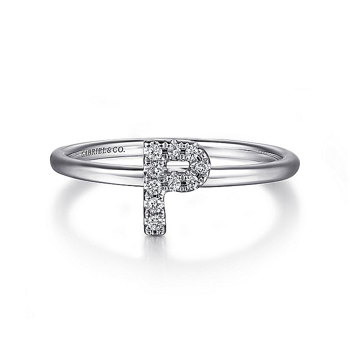 14K White Gold Pavé Diamond Uppercase P Initial Ring