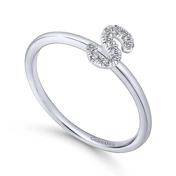 14K White Gold Pavé Diamond Uppercase S Initial Ring