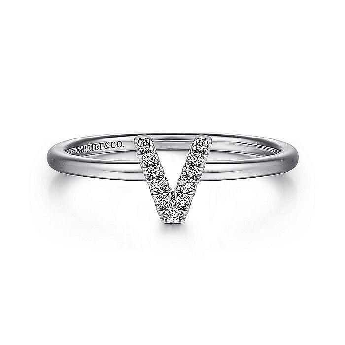 14K White Gold Pavé Diamond Uppercase V Initial Ring