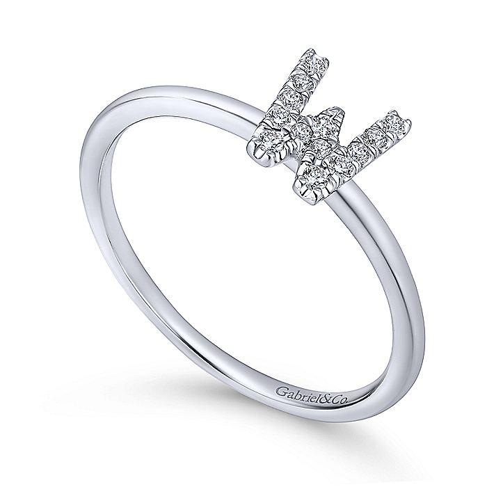 14K White Gold Pavé Diamond Uppercase W Initial Ring