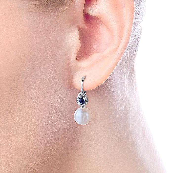 14K White Gold Pear Sapphire and Diamond Halo Earrings with Pearl Drops