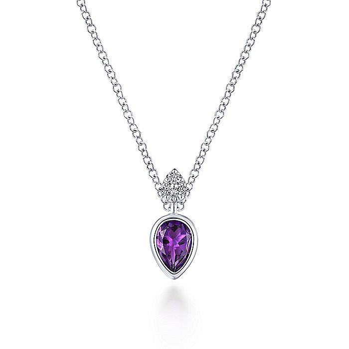 14K White Gold Pear Shape Amethyst Pendant Necklace with Diamond Accents