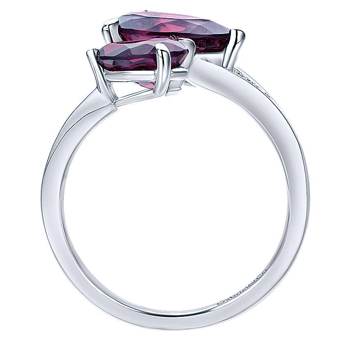 14K White Gold Pear Shape Amethysts Open Ladies Ring