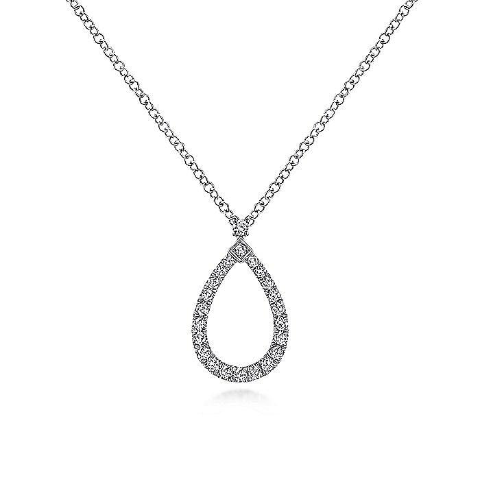 14K White Gold Pear Shape Diamond Pendant Necklace