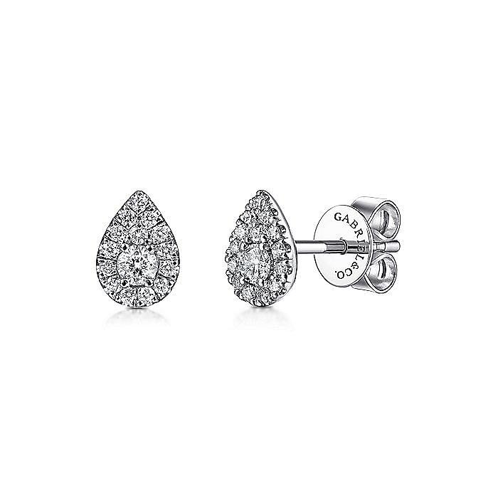 14K White Gold Pear Shape Diamond Stud Earrings
