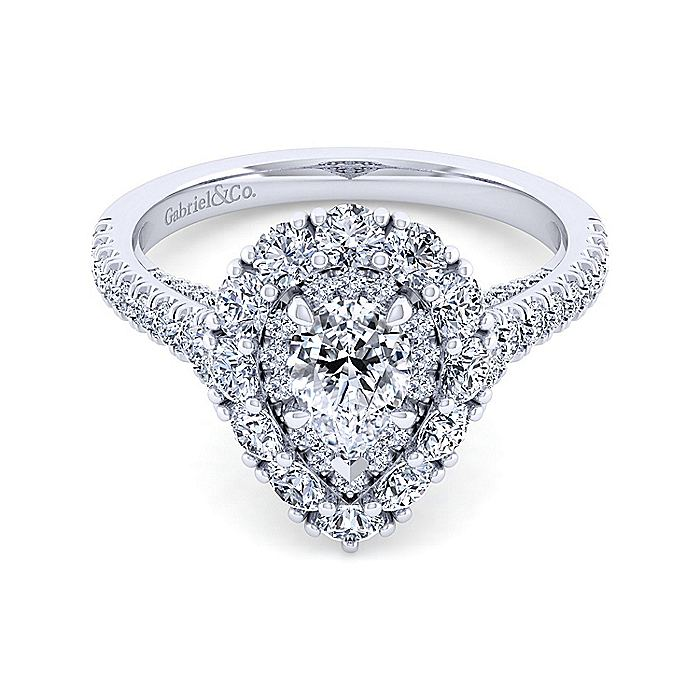 14K White Gold Pear Shape Double Halo Diamond Engagement Ring
