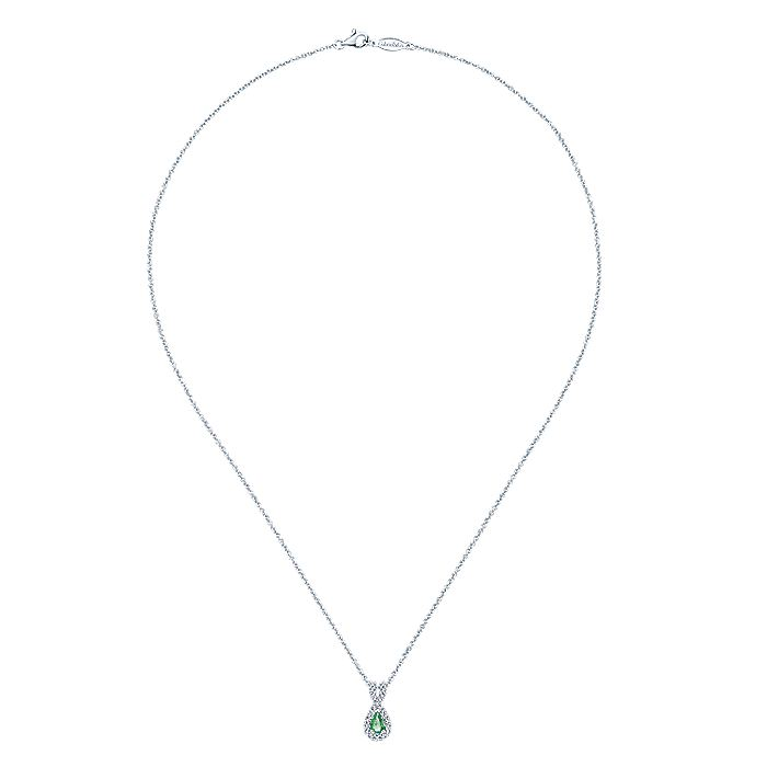 14K White Gold Pear Shape Emerald and Twisted Diamond Frame Pendant Necklace