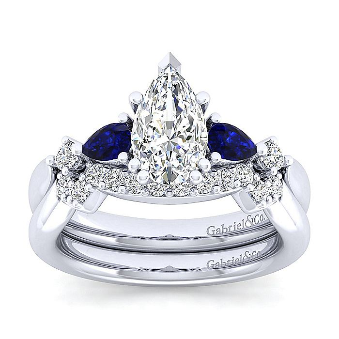 14K White Gold Pear Shape Five Stone Sapphire and Diamond Engagement Ring