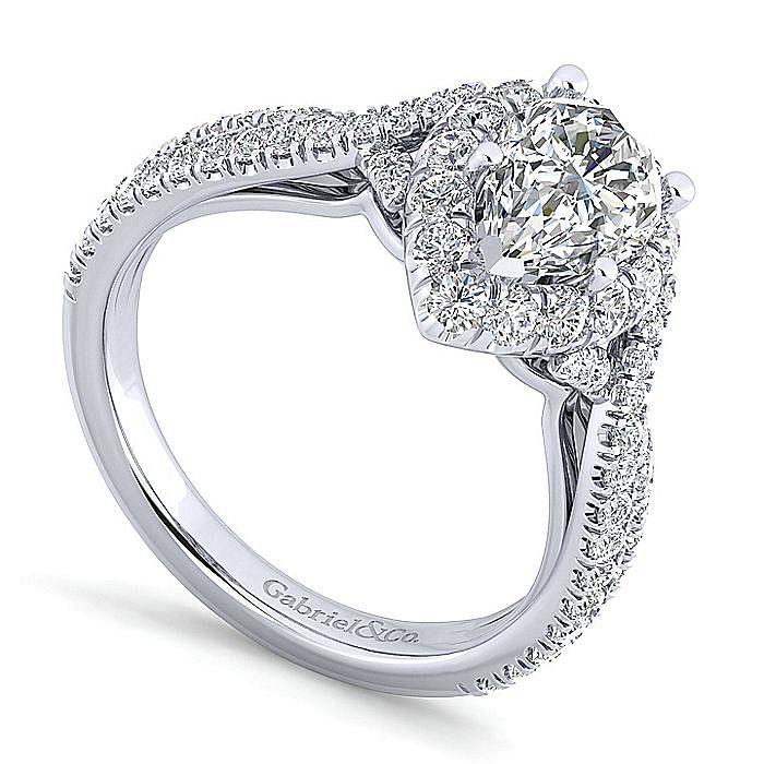 14K White Gold Pear Shape Halo Diamond Engagement Ring