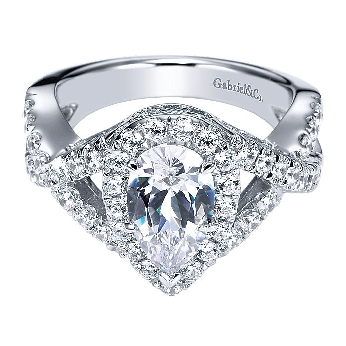 14K White Gold Pear Shape Halo Diamond Engagement Ring