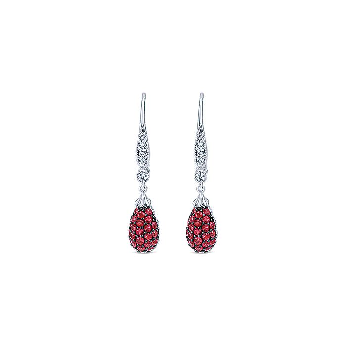 14K White Gold Pear Shape Ruby Cluster and Diamond Drop Earrings