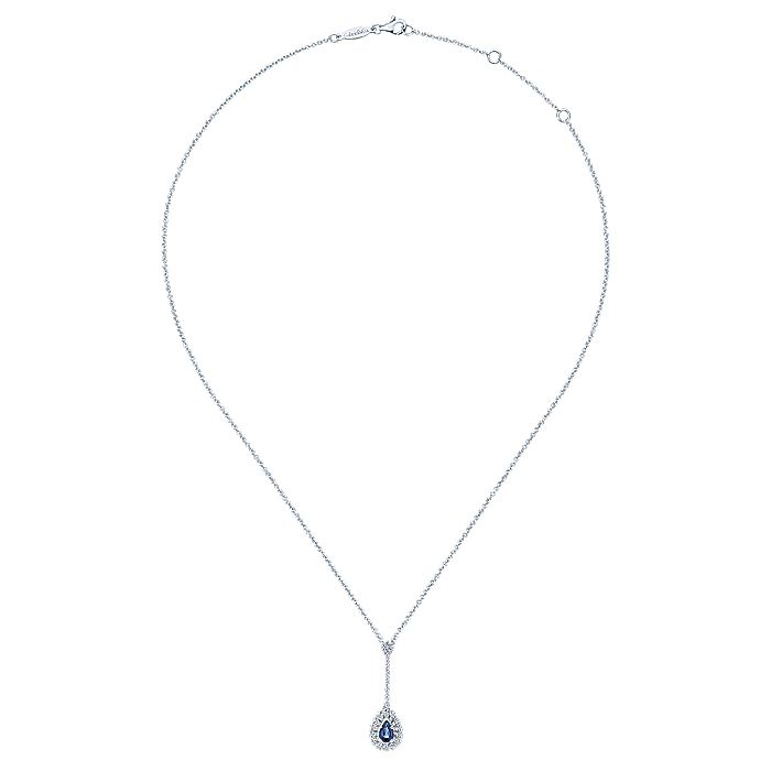 14K White Gold Pear Shape Sapphire and Diamond Halo Y Necklace