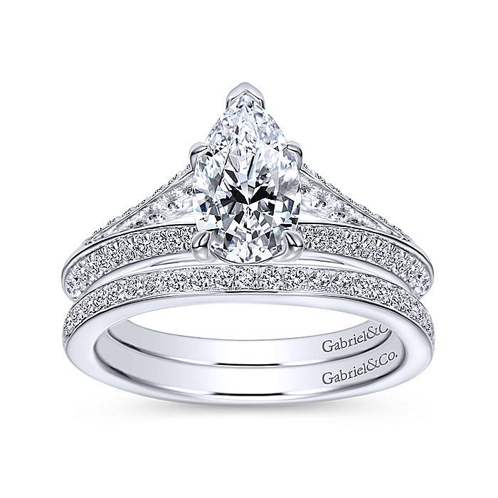14K White Gold Pear Shape Split Shank Diamond Engagement Ring
