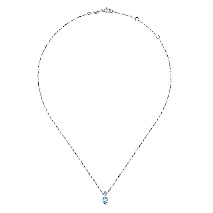 14K White Gold Pear Shape Swiss Blue Topaz Pendant Necklace with Diamond Accents