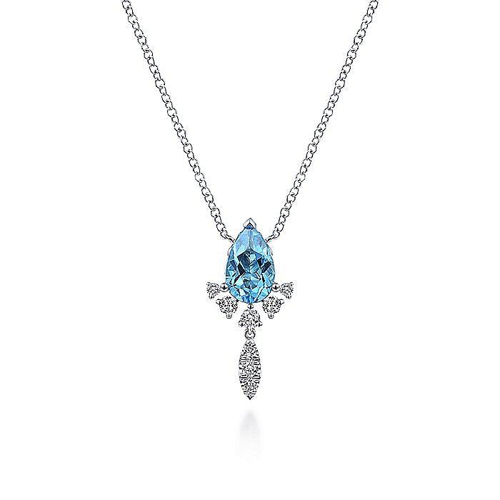 14K White Gold Pear Shape Swiss Blue Topaz and Diamond Drop Pendant Necklace