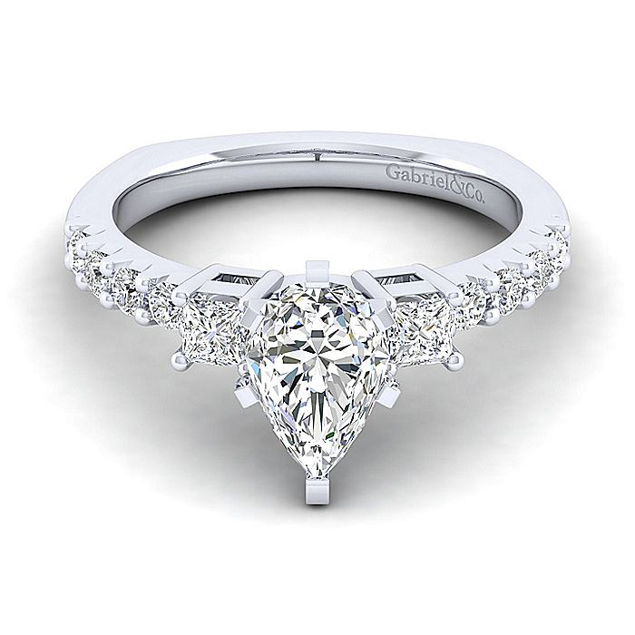 14K White Gold Pear Shape Three Stone Diamond Engagement Ring