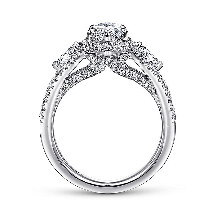 14K White Gold Pear Shape Three Stone Halo Diamond Engagement Ring