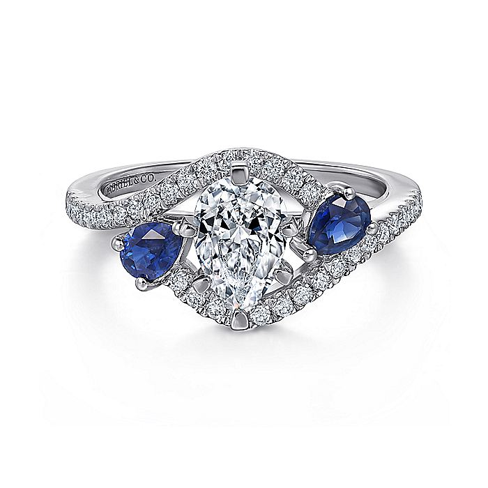14K White Gold Pear Shape Three Stone Sapphire and Diamond Engagement Ring