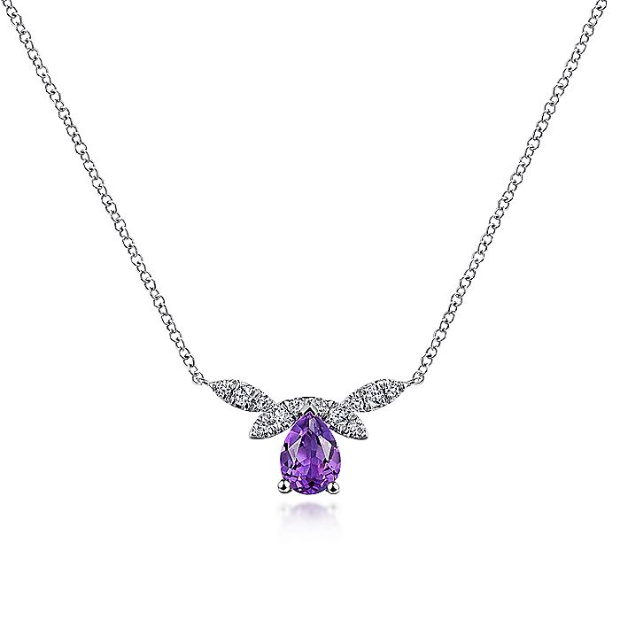 14K White Gold Pear Shaped Amethyst Diamond Petal Necklace