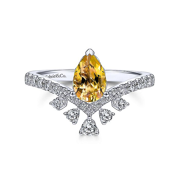 14K White Gold Pear Shaped Citrine Ring with Diamond Burst