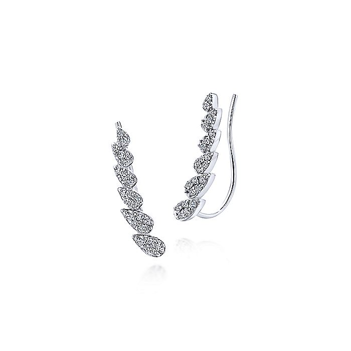 14K White Gold Pear Shaped Diamond Column Ear Climber Earrings