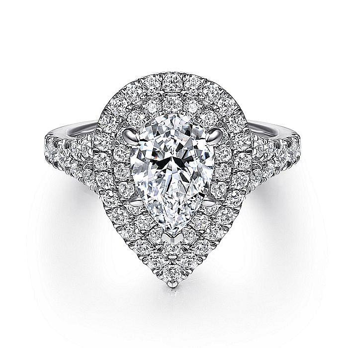 14K White Gold Pear Shaped Double Halo Diamond Engagement Ring