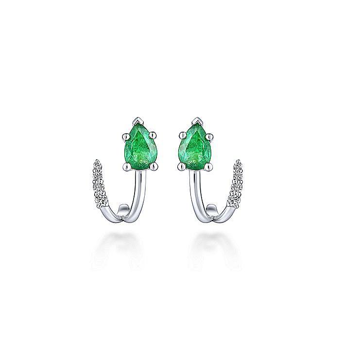 14K White Gold Pear Shaped Emerald & Diamond J Curve Stud Earrings
