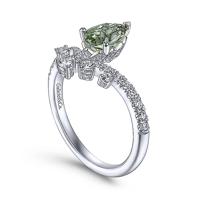 14K White Gold Pear Shaped Green Amethyst and Diamond Ring