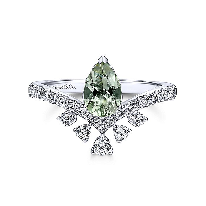 14K White Gold Pear Shaped Green Amethyst with Diamond Burst