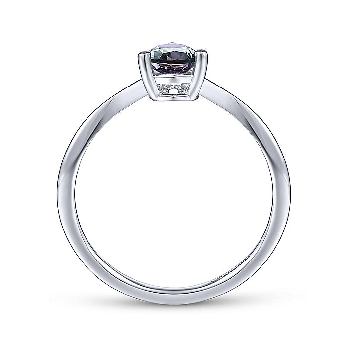 14K White Gold Pear Shaped Manmade Alexandrite and Diamond Ring