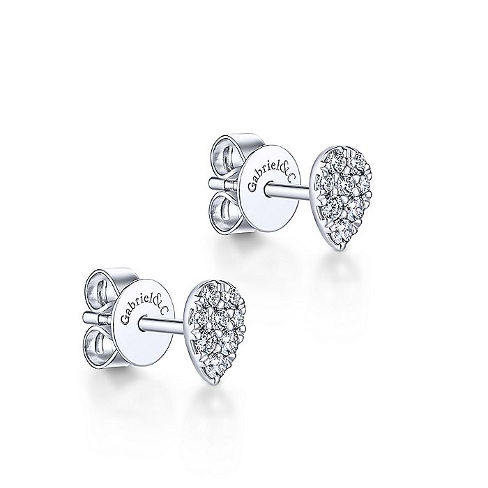 14K White Gold Pear Shaped Pavé Diamond Stud Earrings