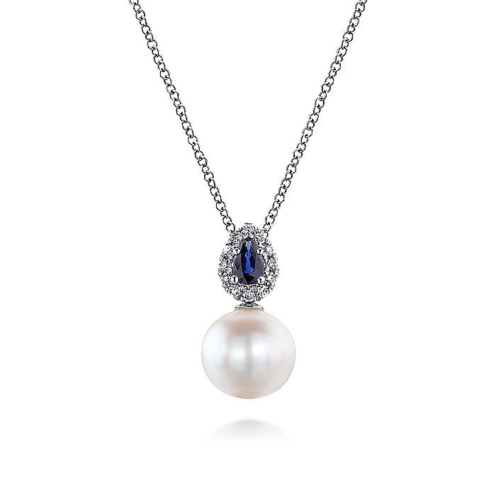 14K White Gold Pear Shaped Sapphire and Diamond Halo Pendant Necklace with Pearl