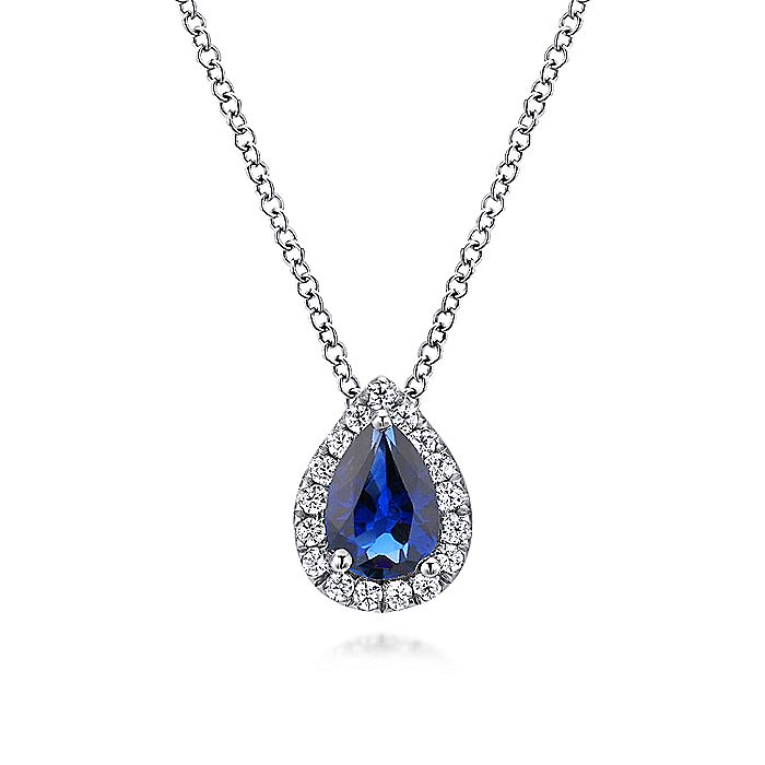 14K White Gold Pear Shaped Sapphire and Diamond Halo Pendant Necklace