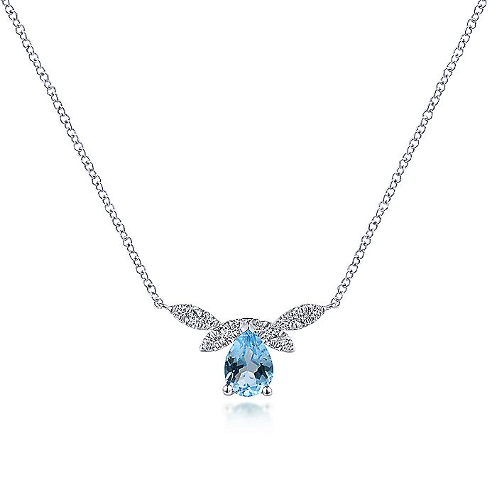 14K White Gold Pear Shaped Swiss Blue Topaz Diamond Petal Necklace