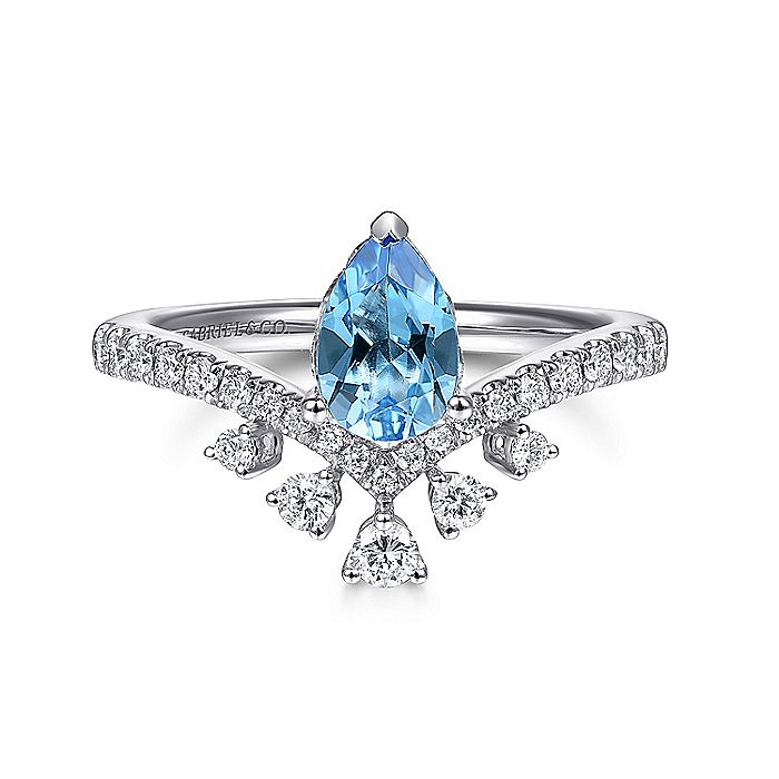 14K White Gold Pear Shaped Swiss Blue Topaz and Diamond Ring