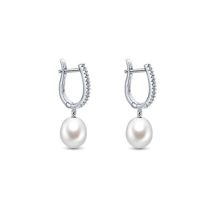 14K White Gold Pearl Drop Diamond Huggie Earrings